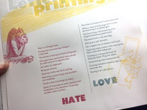 Detail of Love Hate with Letterpress